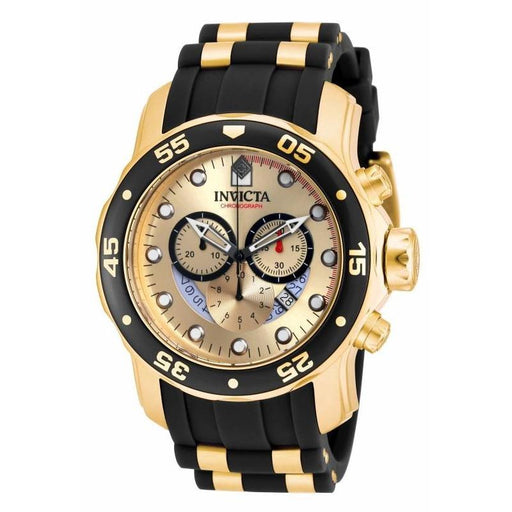 Invicta Men's 17566 Pro Diver Scuba Black and Gold-tone Polyurethane and Stainless Steel Watch