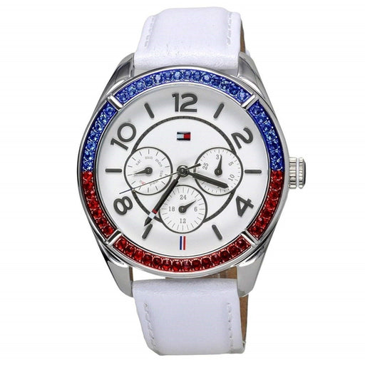 Tommy Hilfiger Women's 1781269 Gracie Multi-Function Crystal White Leather Watch