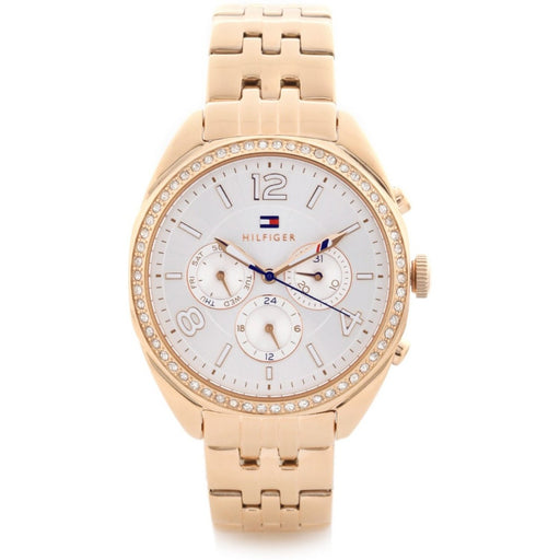 Tommy Hilfiger Men's 1781572 Mia Multi-Function Crystal Rose-Tone Silicone Watch