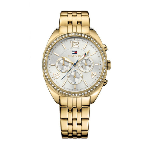 Tommy Hilfiger Women's 1781573 Mia Multi-Function Crystal Gold-Tone Stainless Steel Watch