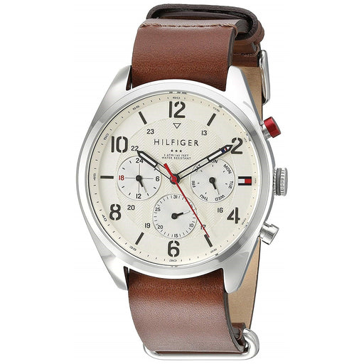 Tommy Hilfiger Men's 1791188 Corbin Multi-Function Brown Leather Watch