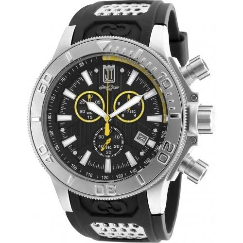 Invicta Men's 19576 Jason Taylor Chronograph Black and Silver Polyurethane and Stainless Steel Watch