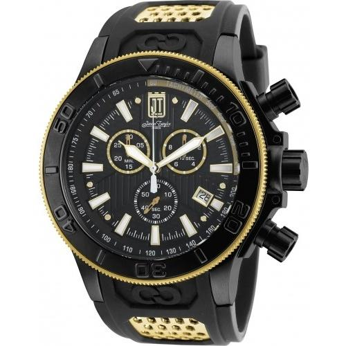 Invicta Men's 19577 Jason Taylor Chronograph Black and Gold-Tone Polyurethane and Stainless Steel Watch