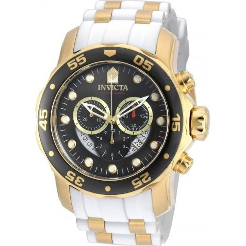 Invicta Men's 20289 Pro Diver Scuba Chronograph White and Gold inserts Polyurethane and Stainless Steel Watch