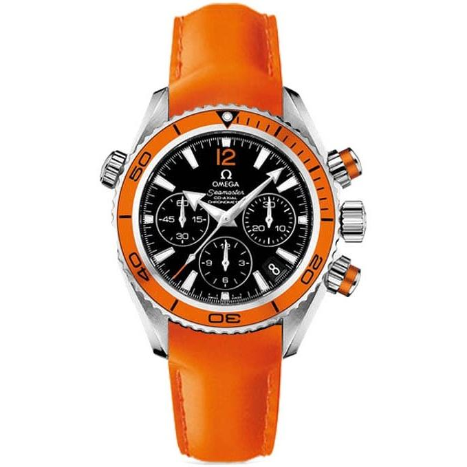 Omega Men's 222.32.38.50.01.003 Seamaster Planet Ocean Chronograph Automatic Orange Leather Watch