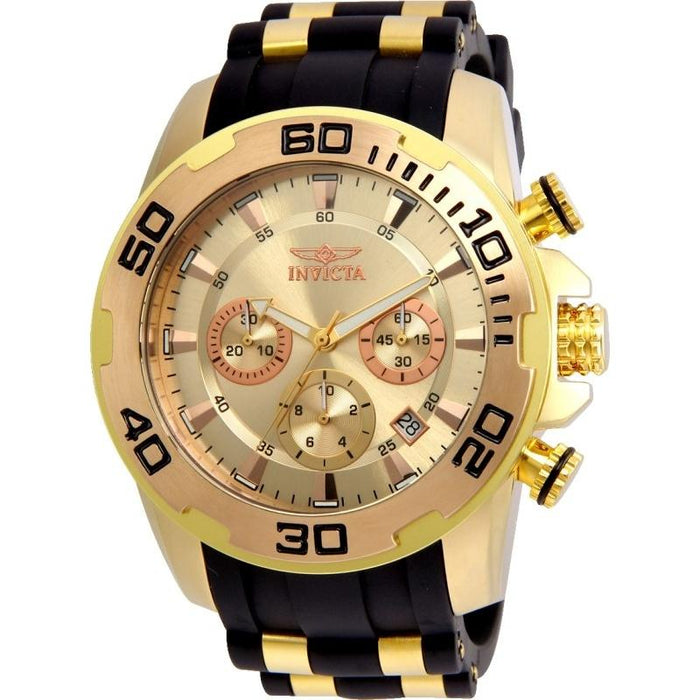 Invicta Men's 22342 Pro Diver Scuba  Black and Gold-Tone Polyurethane and Stainless Steel Watch