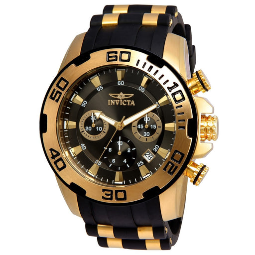 Invicta Men's 22344 Pro Diver Scuba Black and Gold-Tone Polyurethane and Stainless Steel Watch
