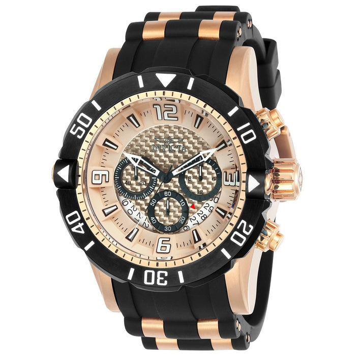 Invicta Men's 23711 Pro Diver Scuba Black and Rose-Tone Polyurethane and Stainless Steel Watch