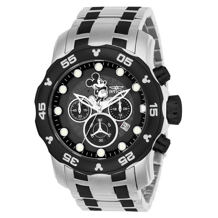 Invicta Men's 23767 Disney Mickey Mouse Black and Silver Stainless Steel Watch