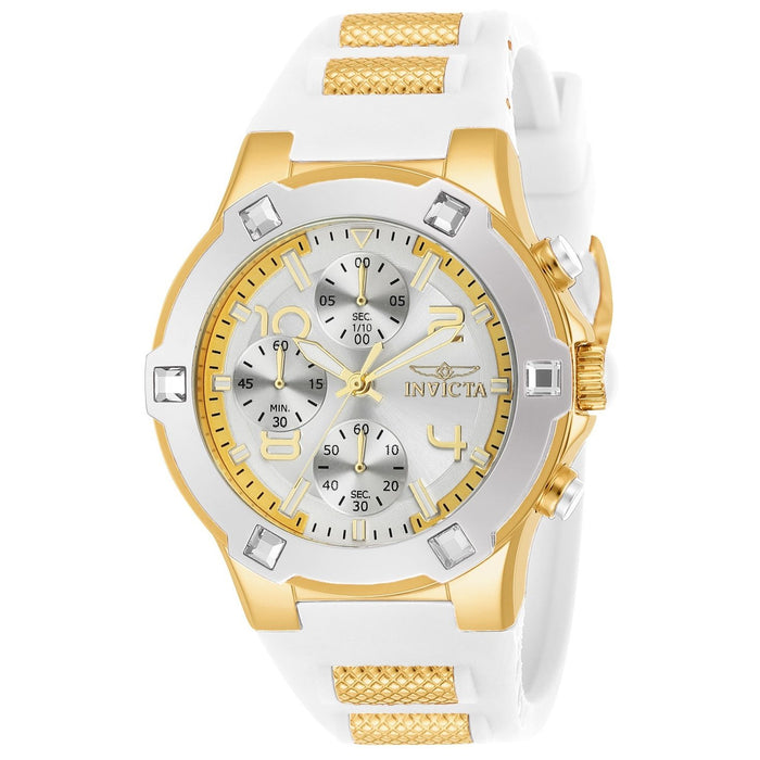 Invicta Women's 24192 Blu White and Gold Inserts Silicone Watch