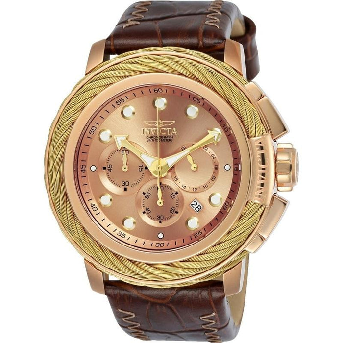 Invicta Men's 24443 Bolt Brown and Rose-Tone Leather Watch