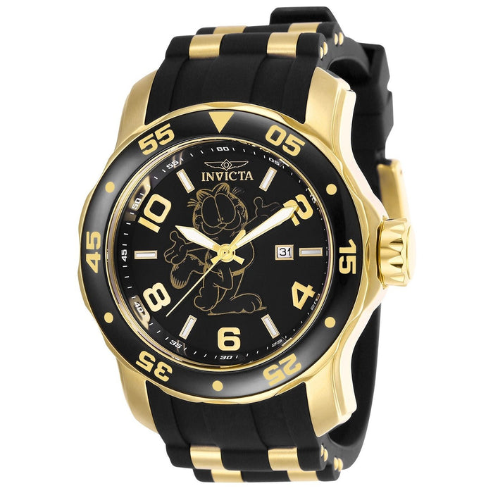 Invicta Men's 25157 Character Garfield Black and Gold-Tone Polyurethane and Stainless Steel Watch