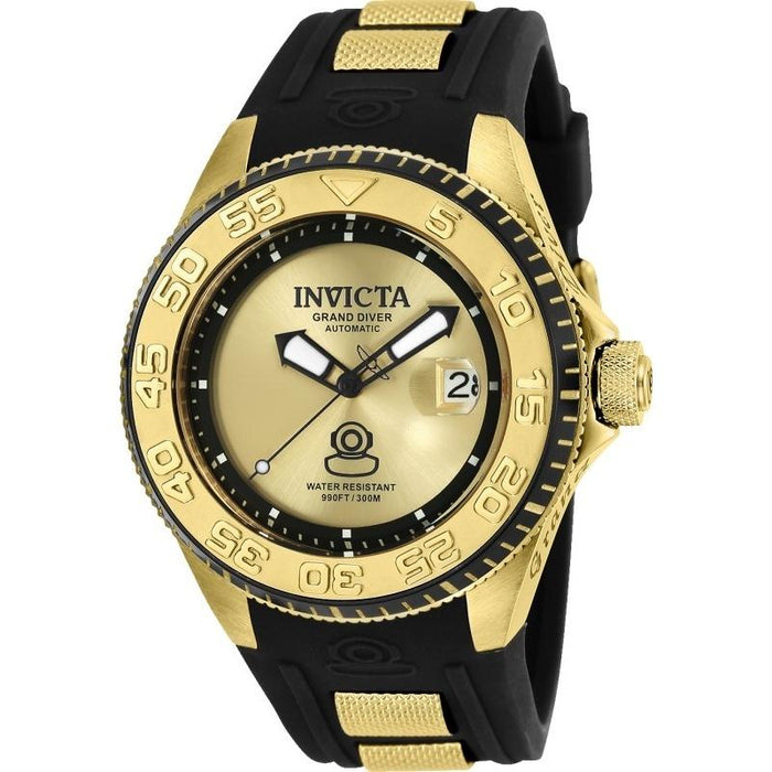 Invicta Men's 25255 Pro Diver Automatic Black and Gold-Tone Silicone Watch