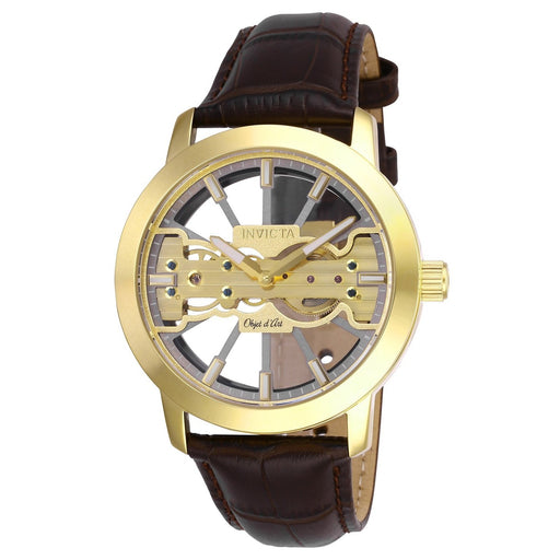 3e19956b3 Invicta Men's 25266 Objet D Art Mechanical Brown and Rose-tone Inserts Leather  Watch