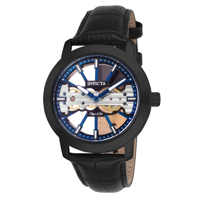 Invicta Men's 25268 Objet D Art Mechanical Black Leather Watch