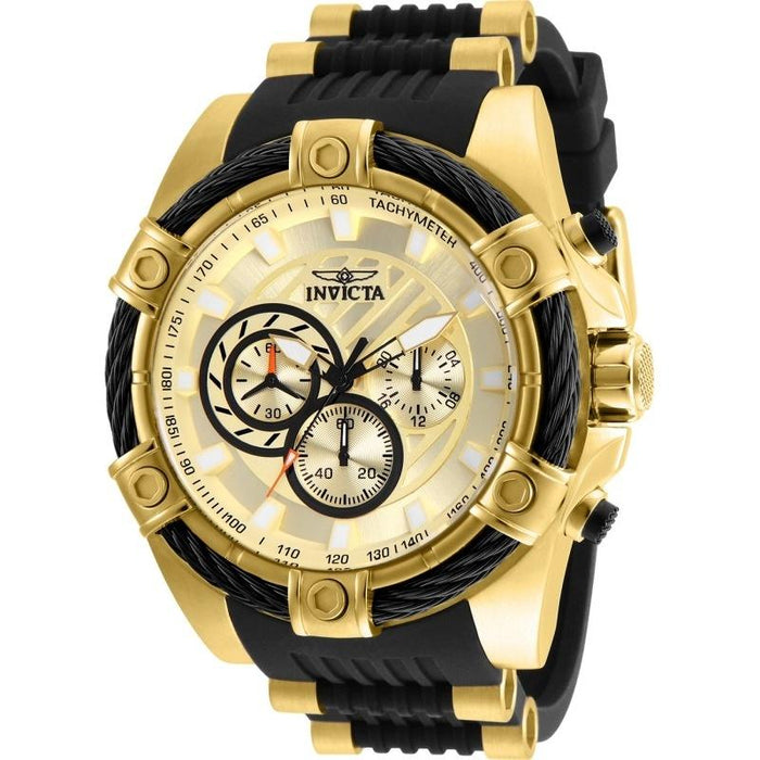 Invicta Men's 25526 Bolt Black and Gold-Tone Polyurethane and Stainless Steel Watch