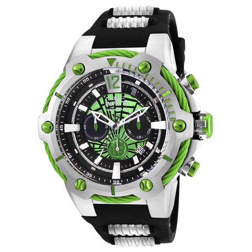 Invicta Men's 25985 Marvel Hulk Black and Silver Polyurethane and Stainless Steel Watch
