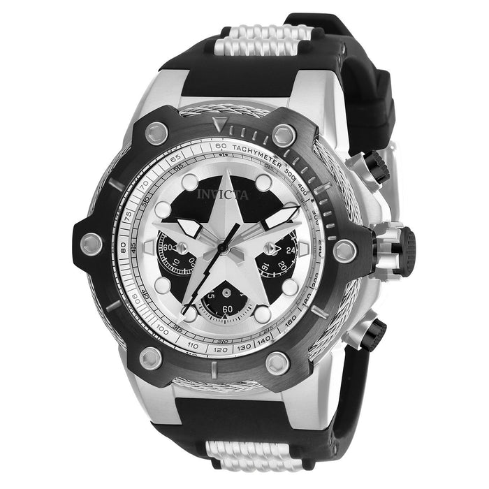 Invicta Men's 26895 Marvel Captain America Black and Silver Inserts Silicone Watch