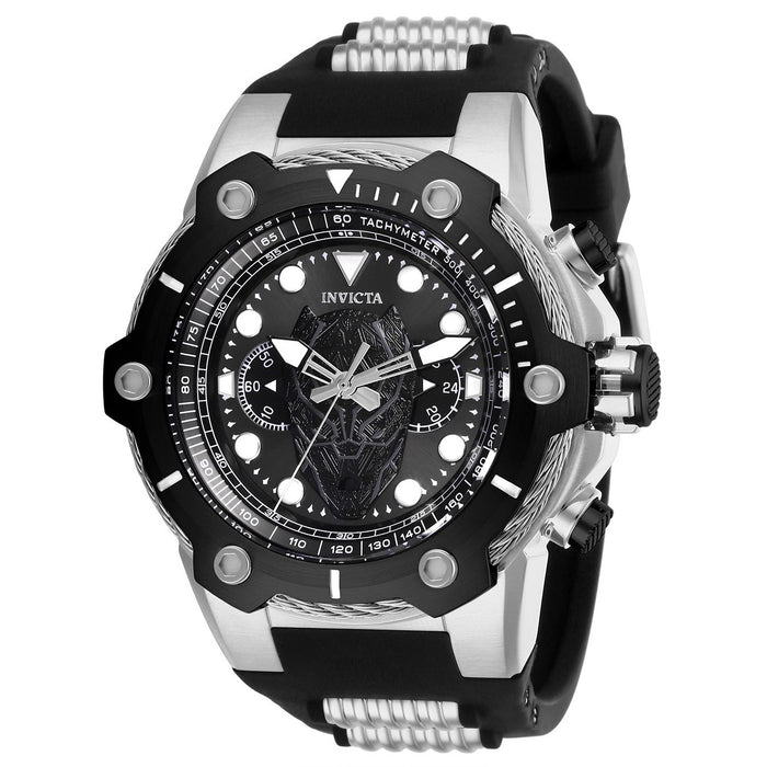 Invicta Men's 26920 Black Panther Black and Silver Inserts Silicone Watch