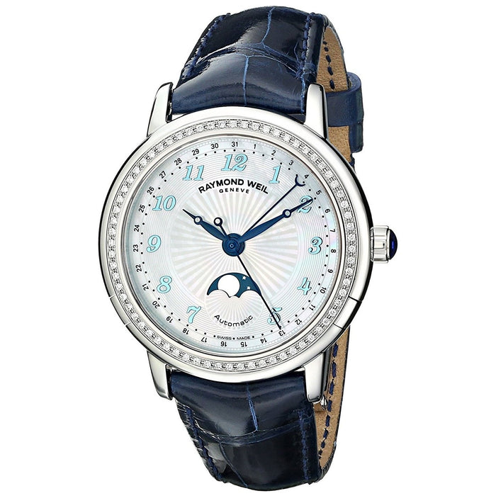 Raymond Weil Women's 2739-LS3-05909 Maestro Automatic Moonphase Diamond Blue Leather Watch