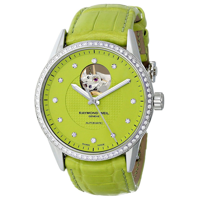 Raymond Weil Women's 2750-SLS-64081 Freelancer Diamond Automatic Green Leather Watch
