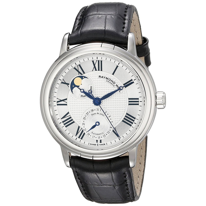 Raymond Weil Men's 2839-STC-00659 Maestro Moonphase Automatic Black Leather Watch