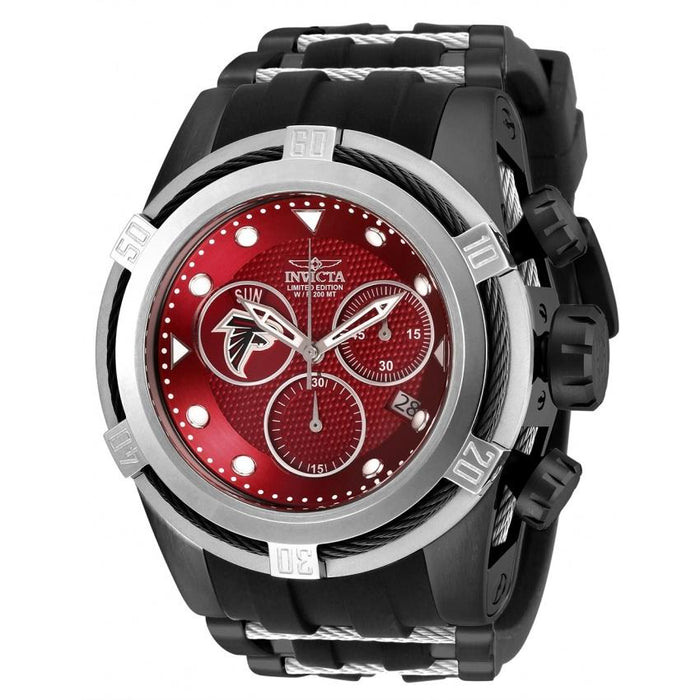 Invicta Men's 30224 NFL Falcons Black and Silver Inserts Silicone Watch