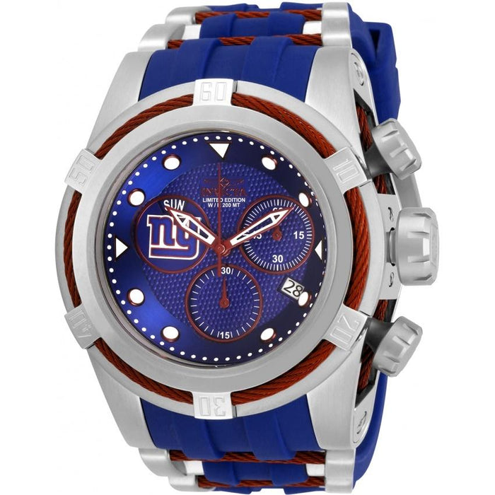 Invicta Men's 30246 NFL Giants Blue and Silver Inserts Silicone Watch