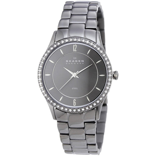Skagen Women's 347SMXM Crystal Black Stainless Steel Watch