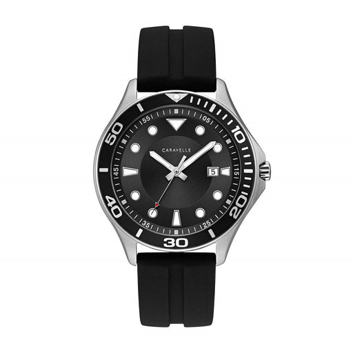 Bulova Men's 43B154 Caravelle Black Rubber Watch