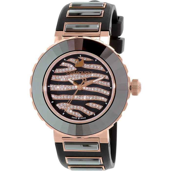 Swarovski Women's 5080197 Octea Zebra Crystal Black Silicone Watch