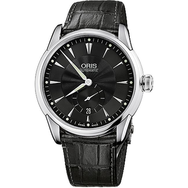Oris Men's 62375824074LS Artelier Automatic Black Leather Watch