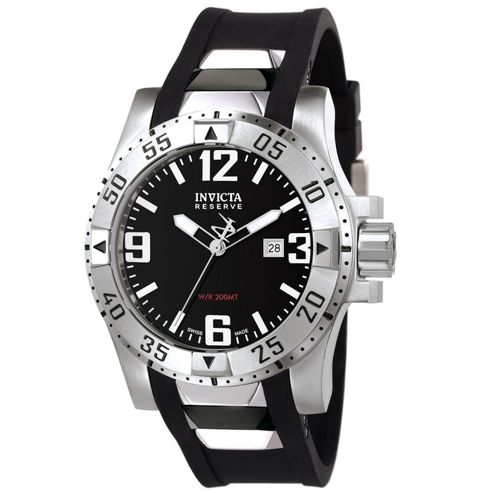 Invicta Men's 6252 Excursion Reserve Black and Silver Inserts Polyurethane Watch