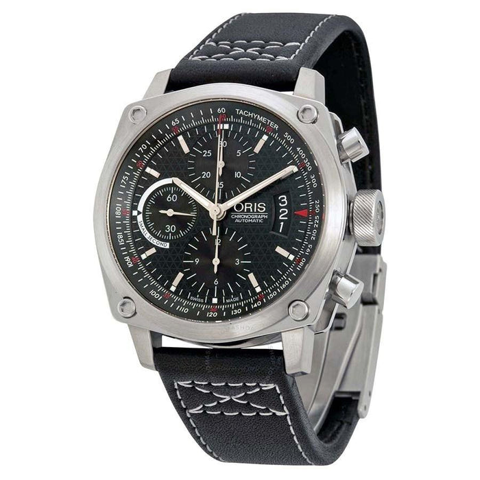 Oris Men's 64976324164LS BC4 Der Meisterflieger Chronograph Automatic Black Leather Watch
