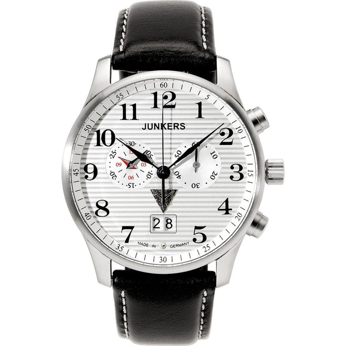 Junkers Men's 6686-1 Iron Annie Chronograph Black Leather Watch