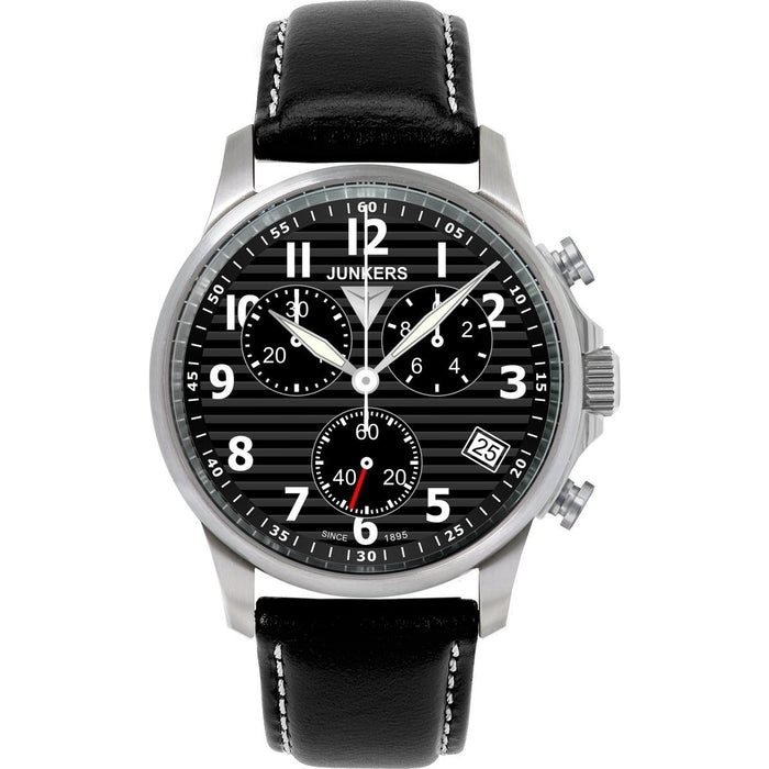 Junkers Men's 6890-2 Chronograph Black Leather Watch