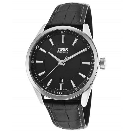 Oris Men's 73376424054LS Artix Black Leather Watch