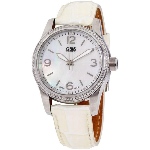 Oris Women's 73376494966LSWHT Big Crown White Leather Watch