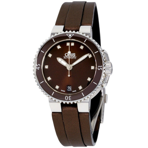 Oris Women's 73376524192LSBRN Divers Date Brown Silicone Watch