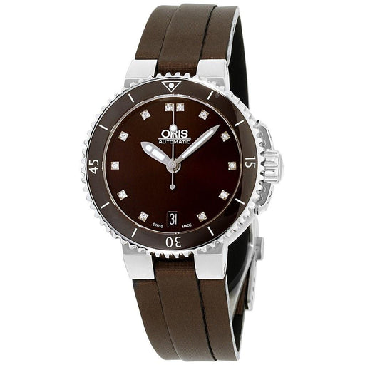 Oris Women's 73376524192TSBRN Aquis Brown Canvas Watch