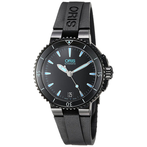 Oris Women's 73376524725RS Aquis Automatic Black Rubber Watch