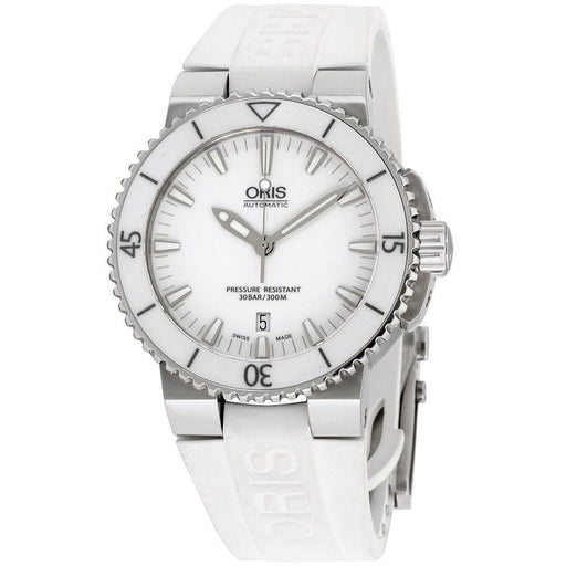 Oris Men's 73376534156RSWHT Aquis White Silicone Watch