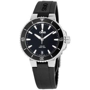 Oris Women's 73377314154RSBLK Aquis Black Silicone Watch