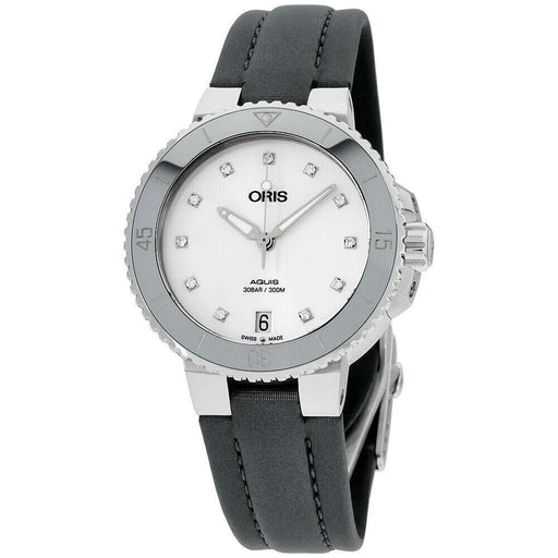 Oris Women's 73377314191TSGRY Aquis Grey Canvas Watch