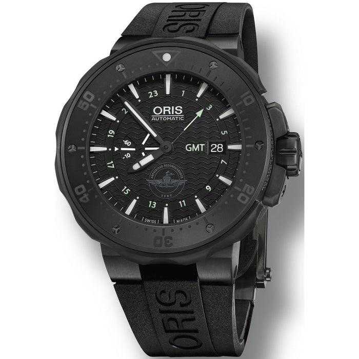 Oris Men's 74777157754SET Pro Diver Force Recon GMT Black Rubber Watch