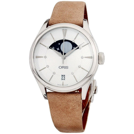 Oris Women's 76377234051LSBGE Artelier Grande Lune Date Beige Leather Watch