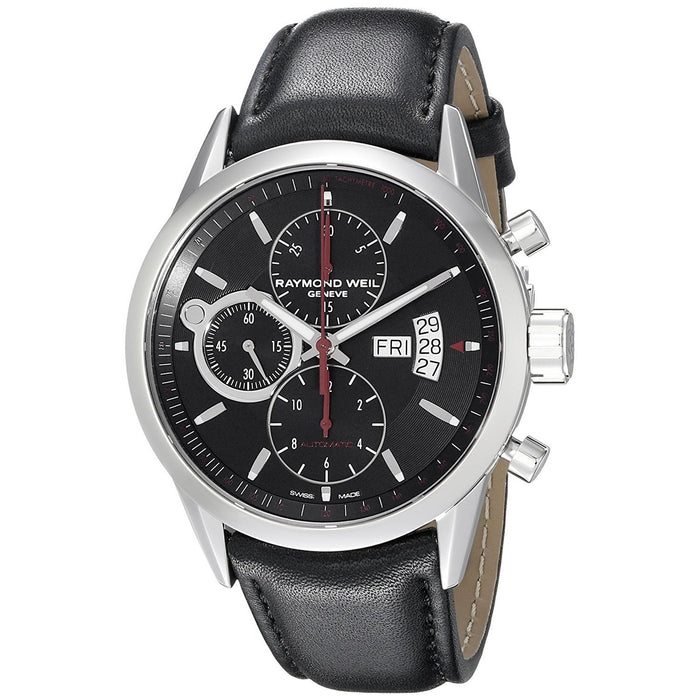 Raymond Weil Men's 7730-STC-20041 Freelancer Chronograph Automatic Black Leather Watch