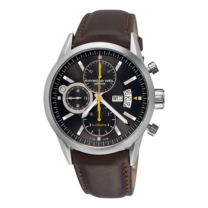 Raymond Weil Men's 7730-STC-20101 Freelancer Chronograph Automatic Brown Leather Watch