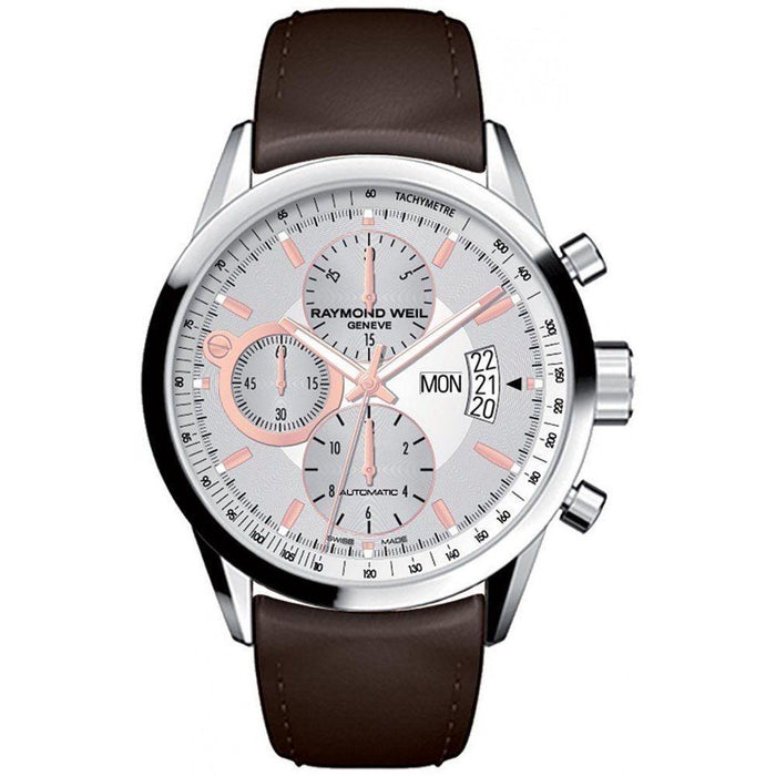 Raymond Weil Men's 7730-STC-65025 Freelancer Chronograph Automatic Brown Leather Watch