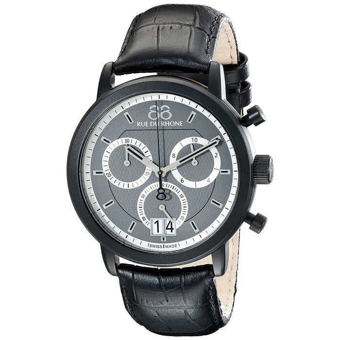 88 Rue Du Rhone Men's 87WA130021 Double 8 Chronograph Black Leather Watch